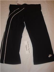 Nwt XS NIKE Women Fit Dry Black Fitness Capri Pants New Xsmall 206791-010
