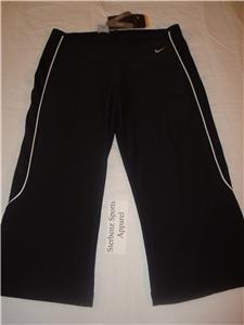 Nwt S NIKE Women Fit Dry Black Fitness Capri Pants New Small 126694-010