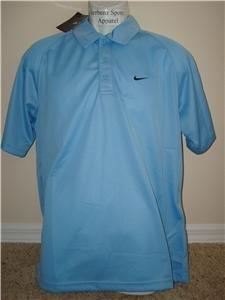 Nwt L NIKE Men Light Blue Fitness Polo Shirt Top New Large 214482-445
