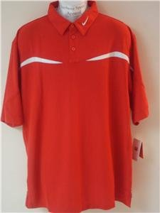 Nwt L NIKE Mens Fit Dry Red White Polo Shirt Top New Large 148679-657