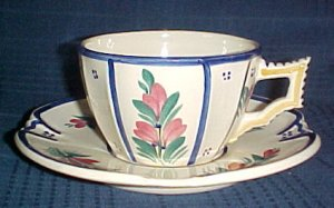 HB Quimper Faience Cup & Saucer French Pottery France