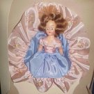 "Vintage Hard Plastic 7"" Fashion Doll Blue & Pink Flowered Satin Dress Sleep Eyes Original Box"