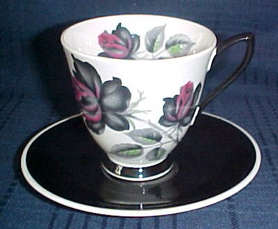 Royal Albert Masquerade Demitasse Footed Cup & Saucer White Cup Black & Maroon Roses