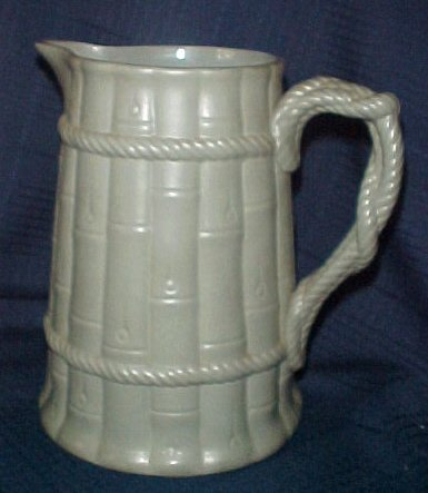 "Ridgway 8"" Pitcher Bamboo & Rope Pottery French Blue Green"