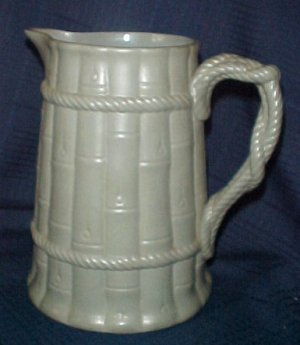 """Ridgway 8"""" Pitcher Bamboo & Rope Pottery French Blue Green"""