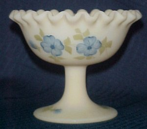 Fenton Hand Painted Dogwood Cameo Art Glass Ruffled Compote Signed Sandy Kelley