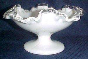 "Fenton Silvercrest Pedestal Compote Art Glass Milk Glass 7"""