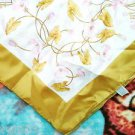 """Large 27.5"""" x 27""""  Pink Gold Floral Silky Scarf BOSELLI TREVIRA Made in Italy"""