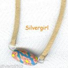 Blue Orange Polymer Clay Brown Leather Necklace