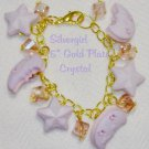 Moon and Stars Charm Gold Plate Bracelet Lobster Clasp