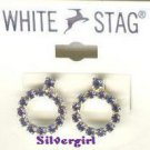 1 pr White Stag Purple Rhinestone Earrings