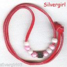 Red Leather Necklace Pink White and Silver Beads