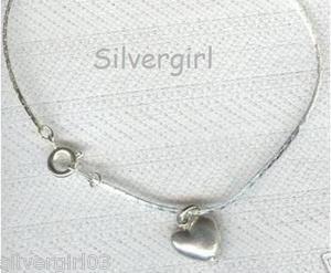 "7"" Puff Heart Charm Bracelet"