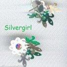 AB Rhinestone Dangle White Flower Stud Earrings