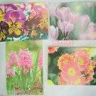 """4 Flower Note Cards 6 1/4  x 4 1/4"""" Children's Wish"""