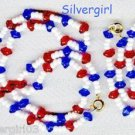 Red White Blue Glass Bead Choker Bracelet Set