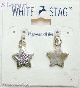 White Stag Reversable Purple Pink Rhinestone Star Earrings