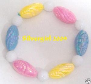 Girls Blue Pink Yellow White Beaded Bracelet
