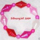 Girls Red White Pink Beaded Bracelet
