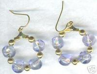 """1"""" Lilac Glass Nugget Hoop Earrings"""
