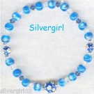 Blue Fiber Optic Glass Painted Bead Bunches Bracelet