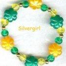 Girls Plastic Flower Beaded Bracelet Green Orange Yellow