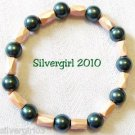 Magnetic Hematite Gemstone Stretch Bracelet Peach Green