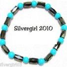 Magnetic Hematite Gemstone Bracelet Turquoise Black