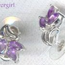 Sterling Silver Genuine Amethyst CZ Cluster Earrings