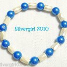 Magnetic Hematite Gemstone Bracelet Cream Deep Aqua