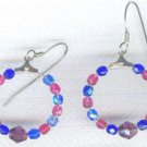 Red Blue Faceted Czech Glass Hoop Earrings