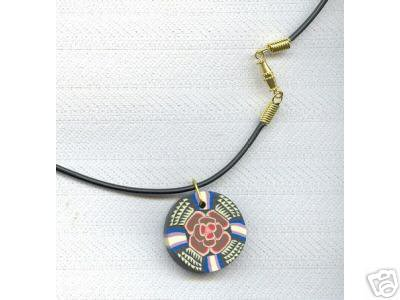 Multi Rose Polymer Clay Fimo Necklace P'leather Cord