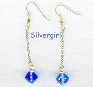 Cute Blue Dice Dangle Chain Earrings Gold Plate Hooks