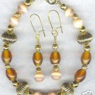 Butterscotch Candy Gold Glass Bracelet and Earrings