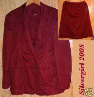Sears Polyester Burgandy Red Ladies 2 Piece Suit  SZ-18