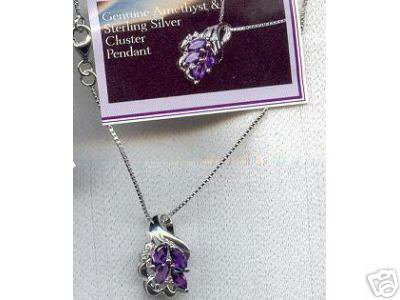 Sterling Silver Genuine Amethyst CZ Cluster Necklace