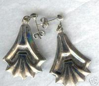 Fancy Silver Dangle Vintage Earrings