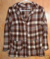 Ladies Vintage Plaid Wool Blend Blazer Jacket