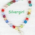 Fun Colorful Glass Bunches Bracelet with Moon Charm