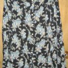 100% Rayon Button Front Full Skirt Black Floral