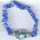 Blue Quart Gem Chips Floral Blue Lampwork Bracelet