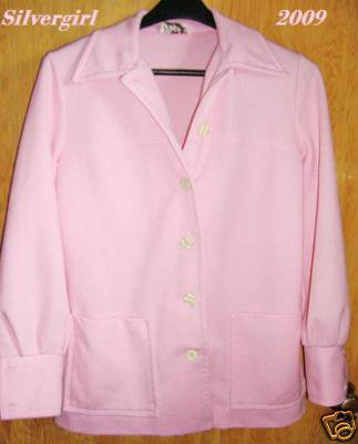 Vintage Polyester Pink Ladies Blazer Jacket