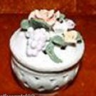 Vintage Round Porcelain Trinket Box Roses and Grapes