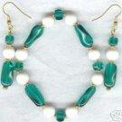 Twirly Whirly Glass Green White Bracelet Earring Set