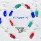Red Green Blue Crystal Glass Bracelet Set