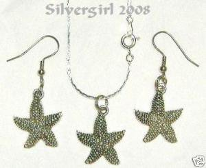 Silver Plate Star Fish Pendant Necklace & Earrings