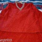 Vintage Burgandy 2 Piece Textured Loop Outfit Skirt Top