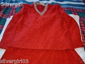 Vintage Burgandy 2 Piece Textured Loop Outfit Skirt Top