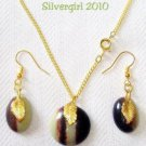 Green Brown Cabochon Earring Necklace Set
