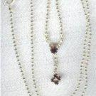 Dainty Silver Plate Chain Garnet and Clear Rhinestones